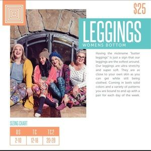 Lularoe Pants Leggings Size Tc Check Sizing Chart Poshmark